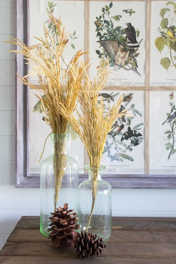 fall decor dried leaves in vases